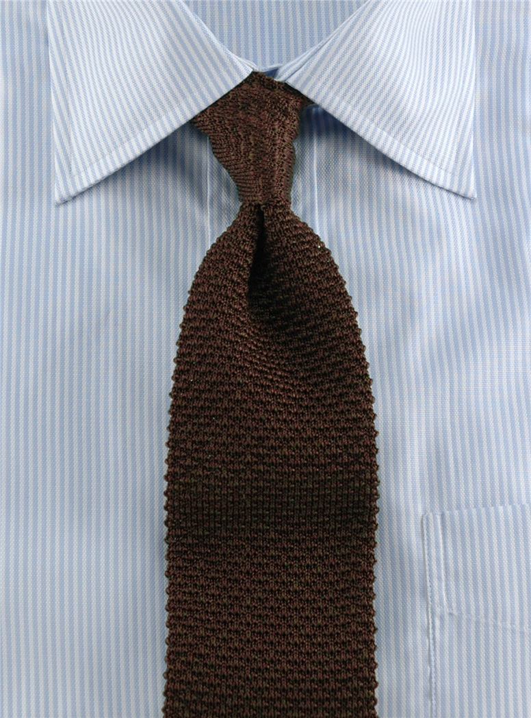 Classic Silk Knit Tie in Brown