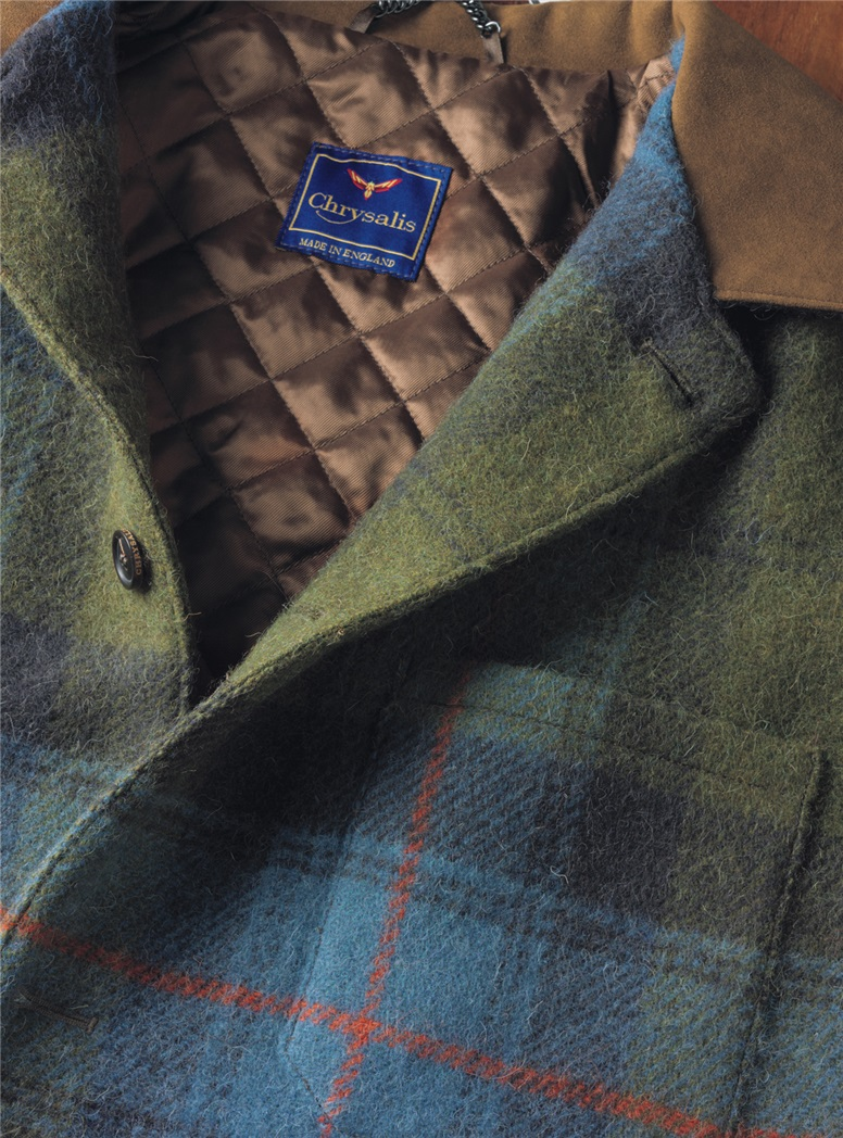 Cornflower Blue and Sage Green Wool Plaid Blanket Jacket