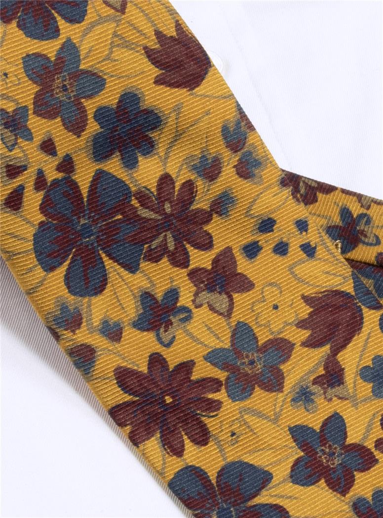 Wool Paisley Floral Printed Tie in Mustard