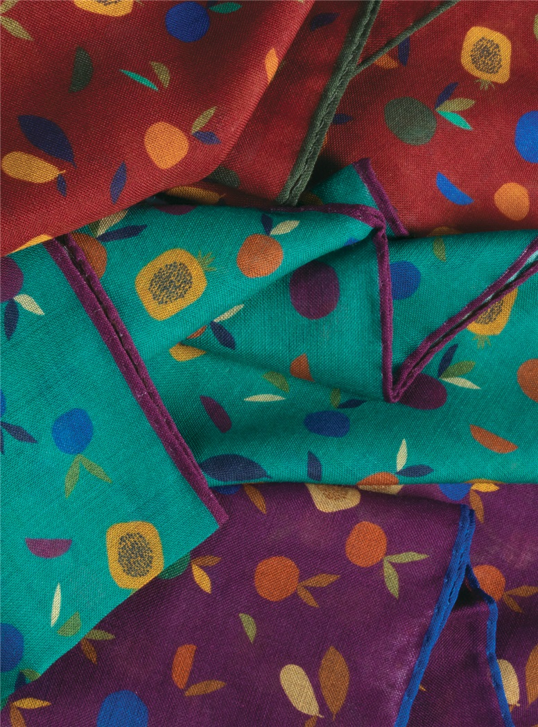 Wool and Silk Fruit Print Pocket Squares