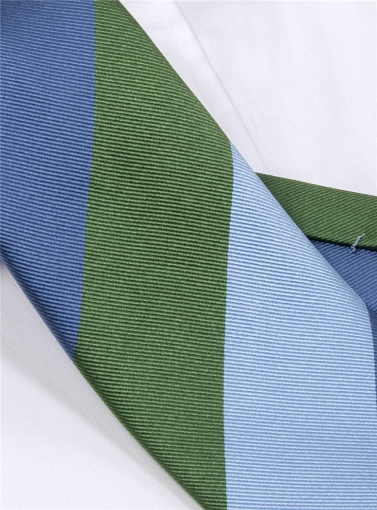 Woven Block Stripe Tie in Fern, Sky and Denim