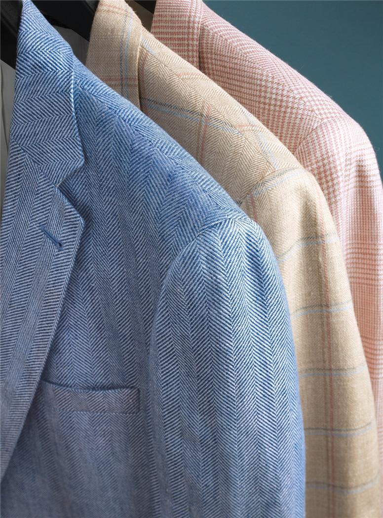 Blue and White Herringbone Linen Sport Coat