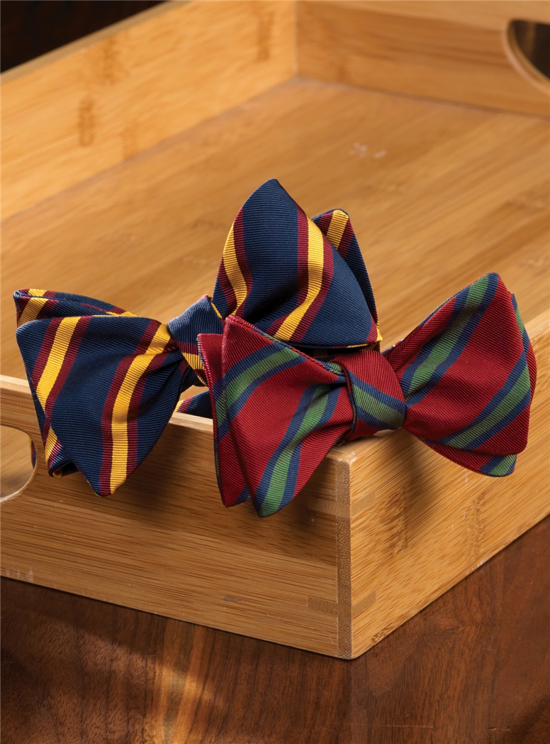Mogador Striped Bow Tie in Ruby