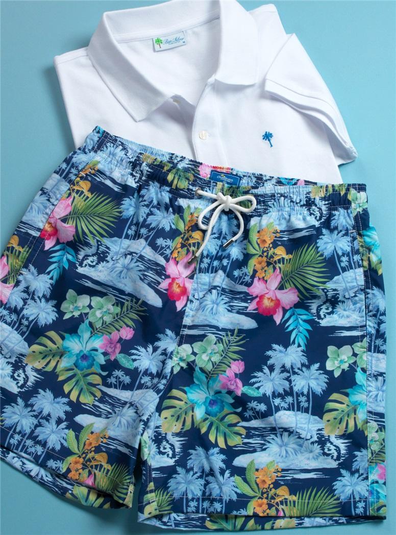 Island Printed Swim Trunks in Navy