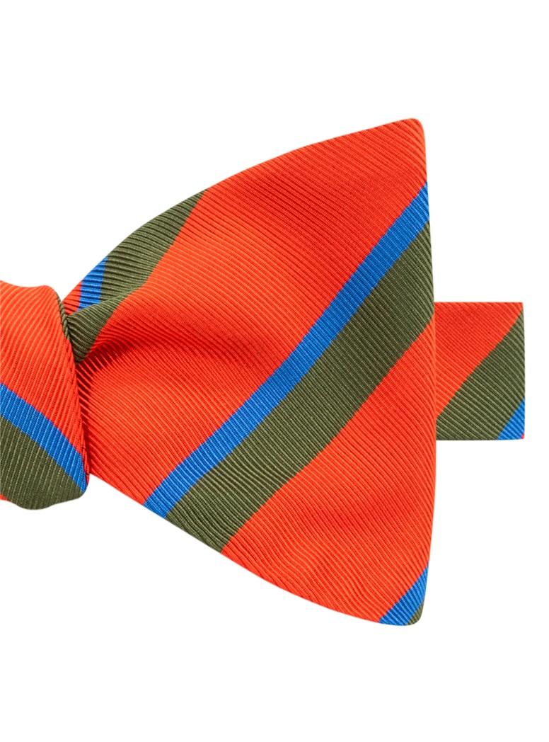 Mogador Silk Double Stripe Bow Tie in Tangerine