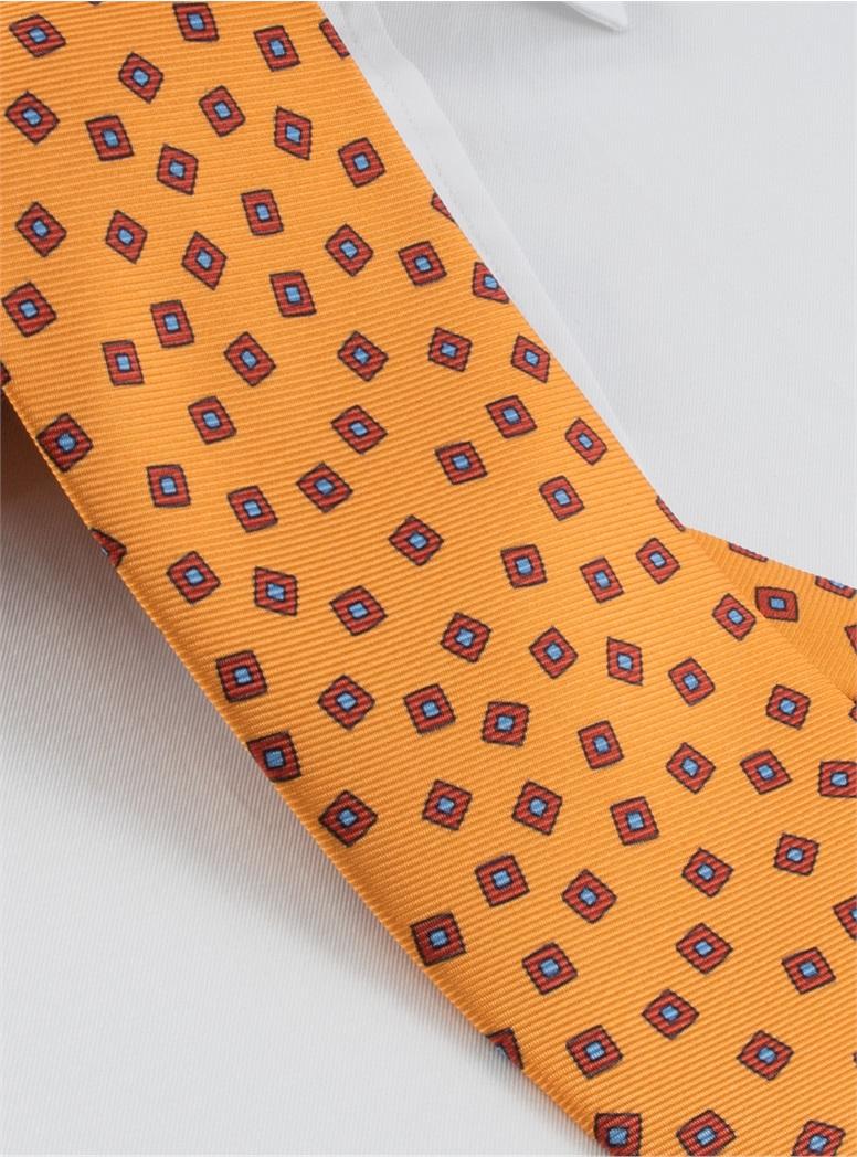 Silk Printed Tossed Squares Tie in Marigold