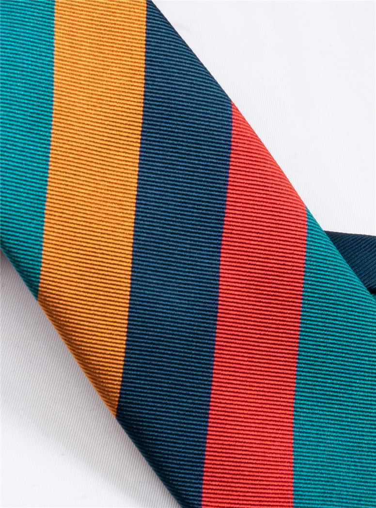 Silk Block Stripe Tie in Chilli, Teal, Gold and Navy