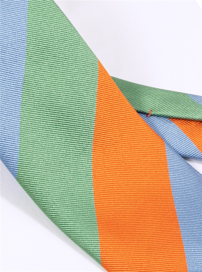 Woven Block Stripe Tie in Sage, Tangerine and Sky