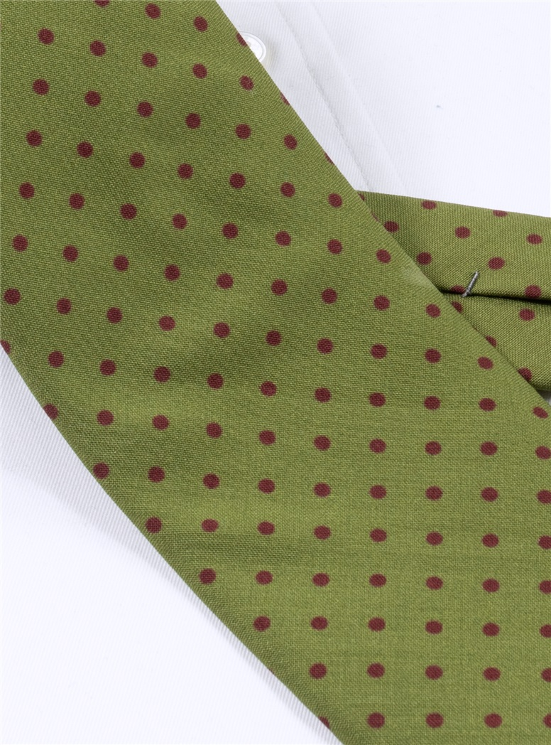 Wool Printed Dots Tie in Lime with Wine