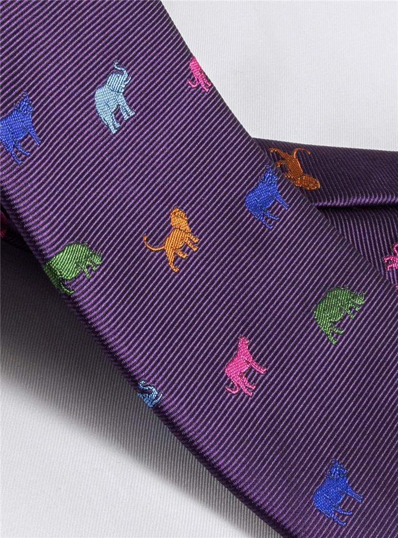 Silk Woven Animal Motif Tie in Violet