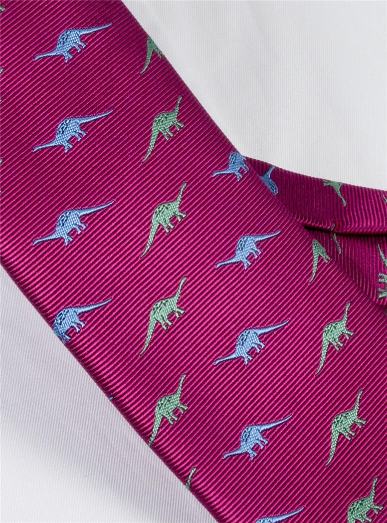Jacquard Woven Dinosaur Motif Tie in Magenta