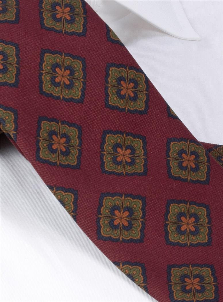 Silk Medallion Printed Tie in Plum