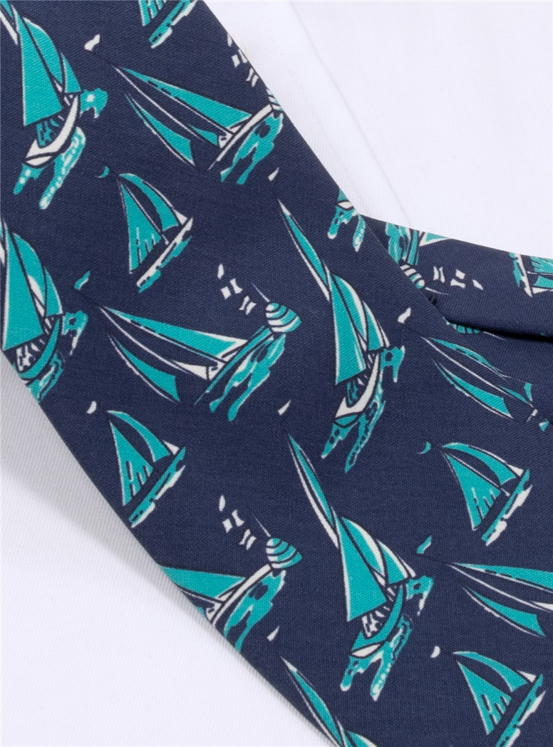 Silk Printed Sailboat Tie in Navy