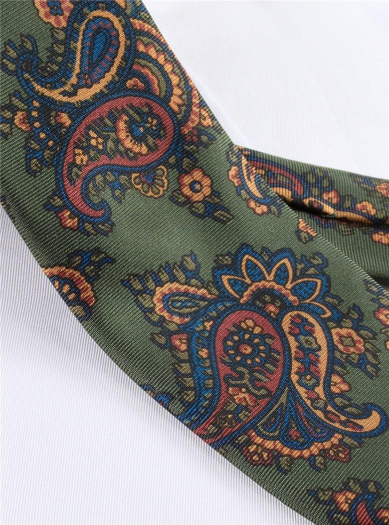 Silk Print Paisley Tie in Fern