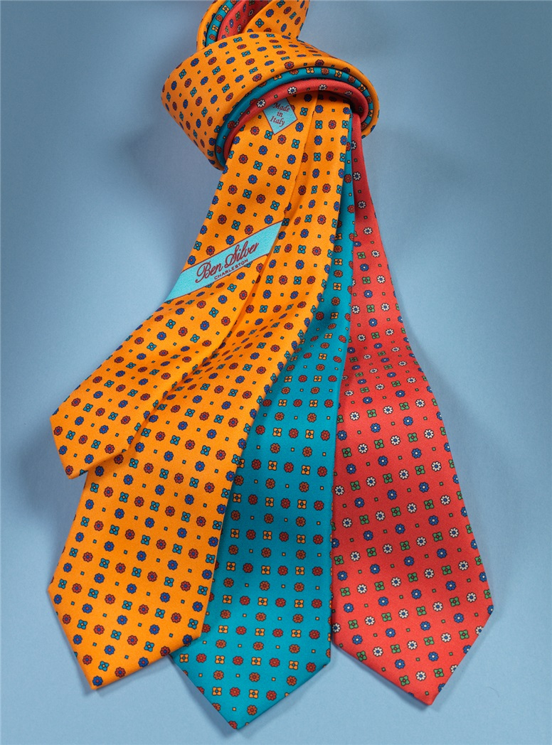 Silk Neat Printed Tie in Aqua