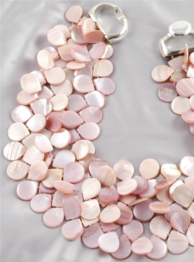 3 Strands Pink Mother of Pearl Petal Necklace
