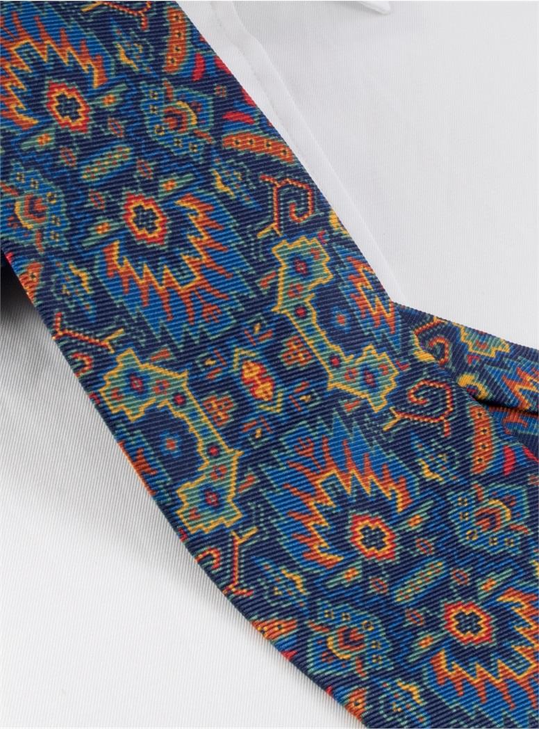 Silk Kelim Printed Tie in Navy