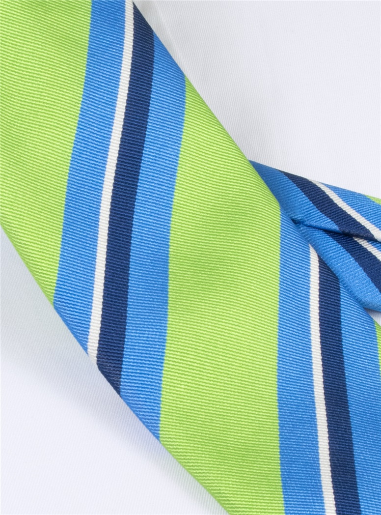 Silk Woven Multi-Stripe Tie in Lime