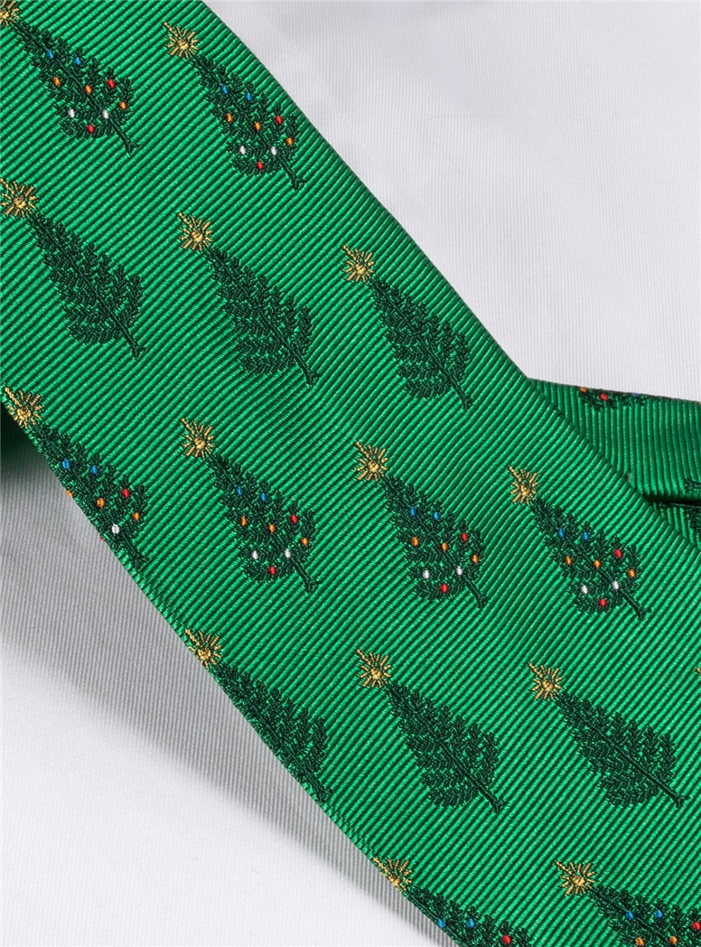 Jacquard Woven Christmas Tree Tie in Holly Green