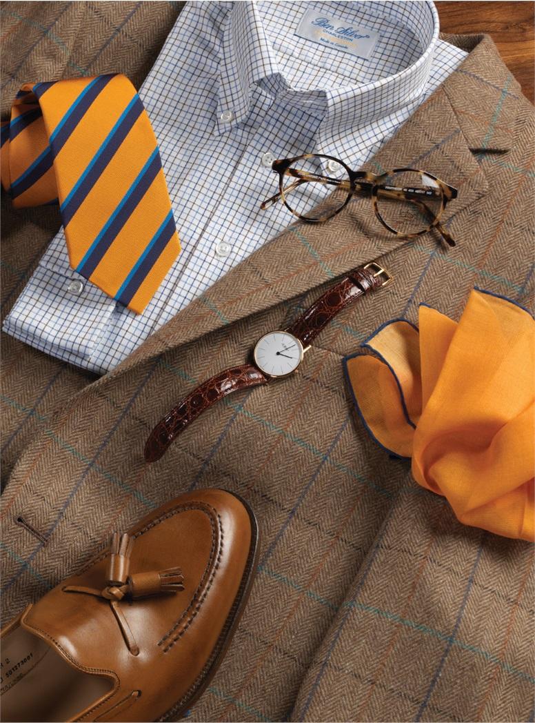 Chestnut Herringbone Sport Coat with Tattersall