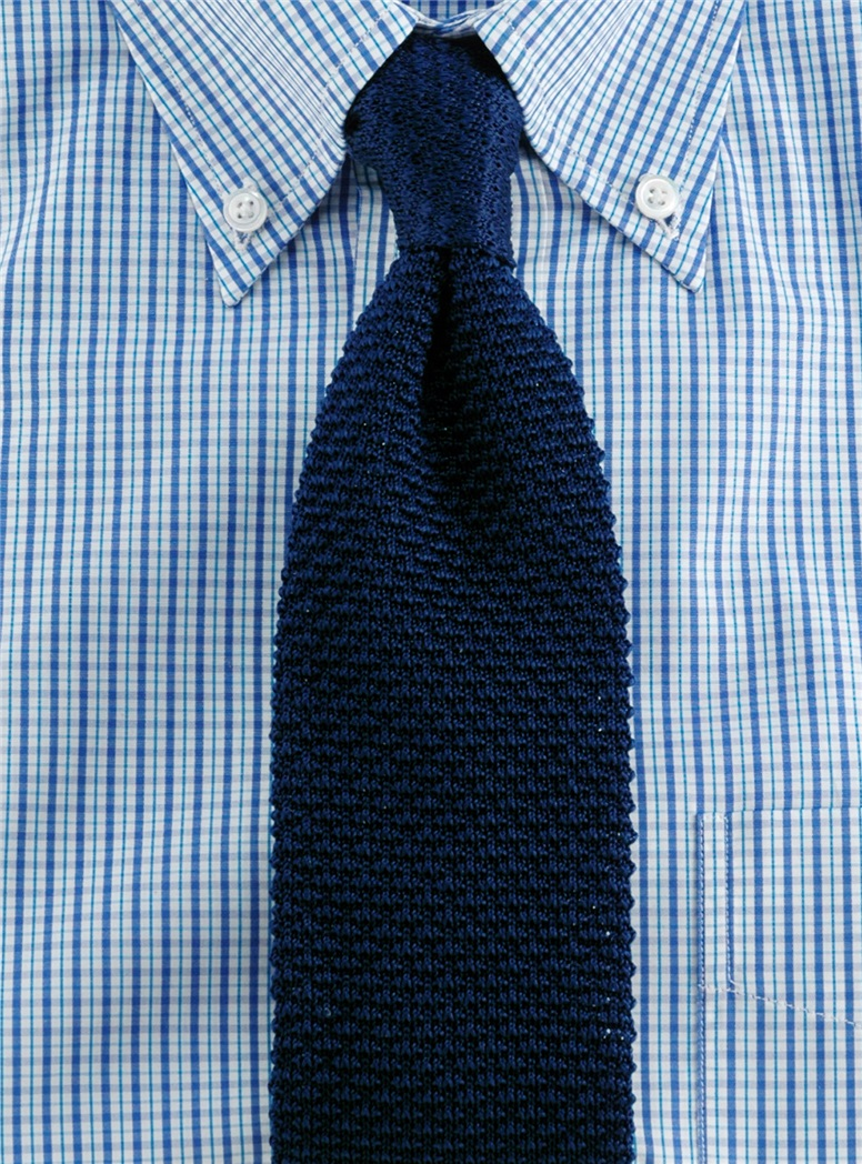 Classic Silk Knit Tie in Navy