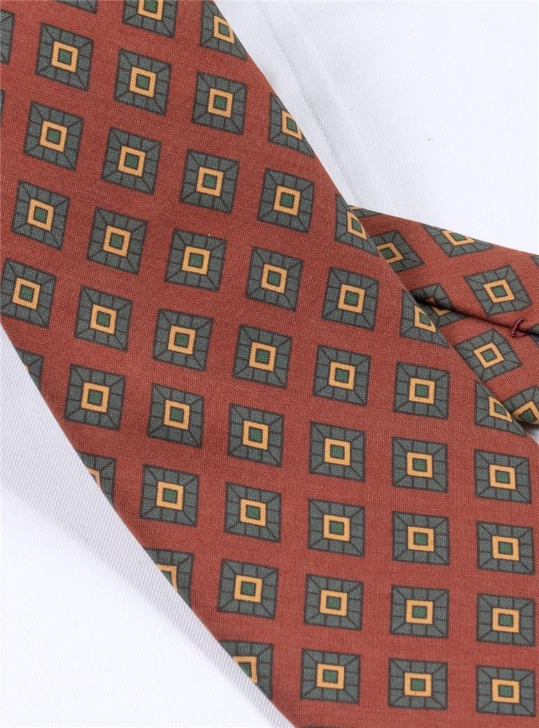 Silk Diamond Printed Tie in Brick