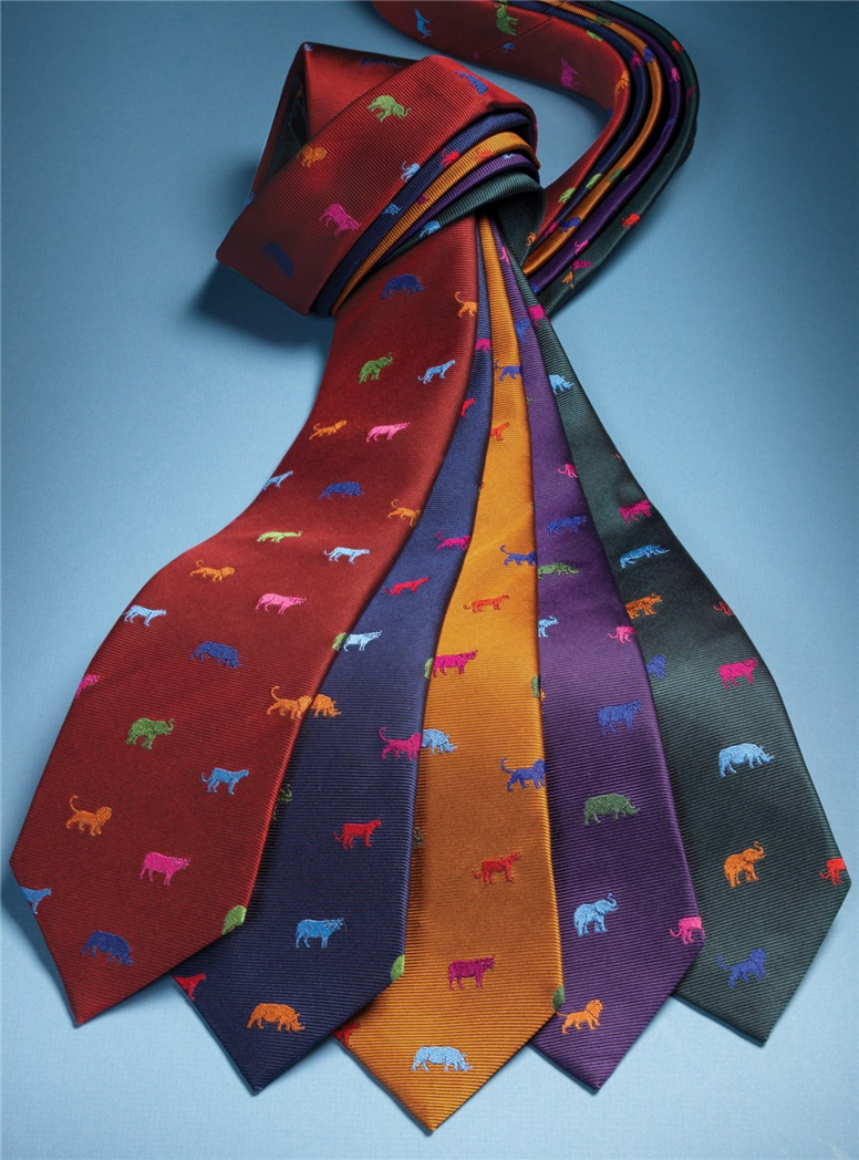 Silk Woven Animal Motif Tie in Ruby