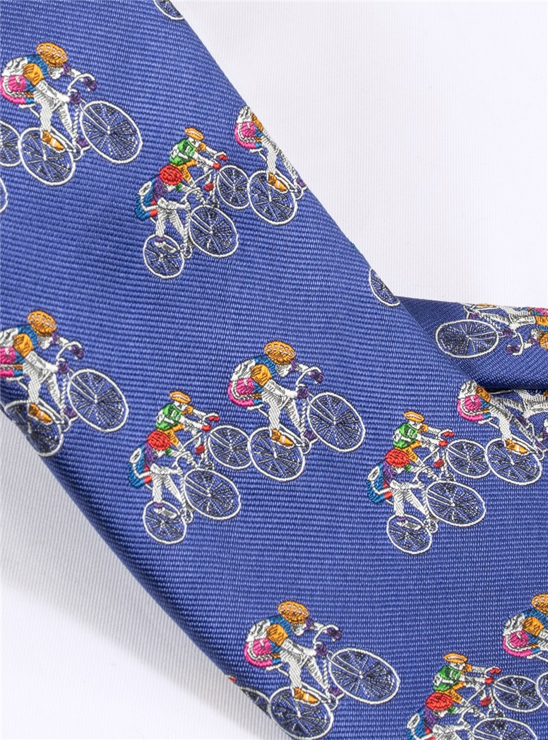 Jacquard Woven Bicyclist Tie in Royal Blue