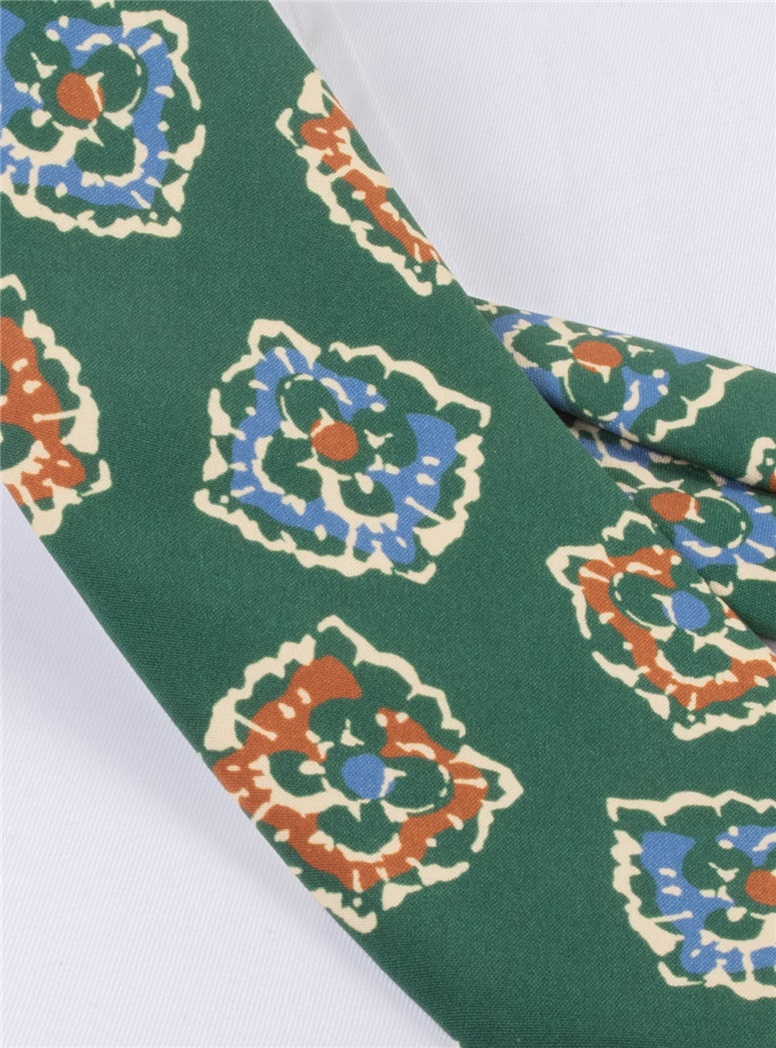 Silk Print Floral Tie in Forest
