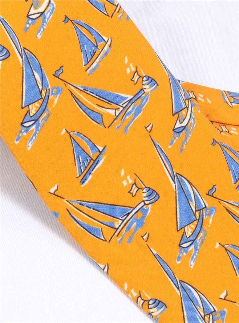 Silk Printed Sailboat Tie in Marigold