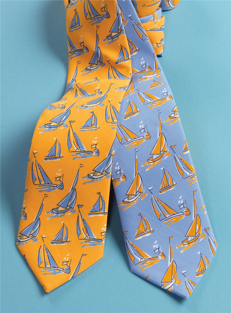 Silk Printed Sailboat Tie in Marigold