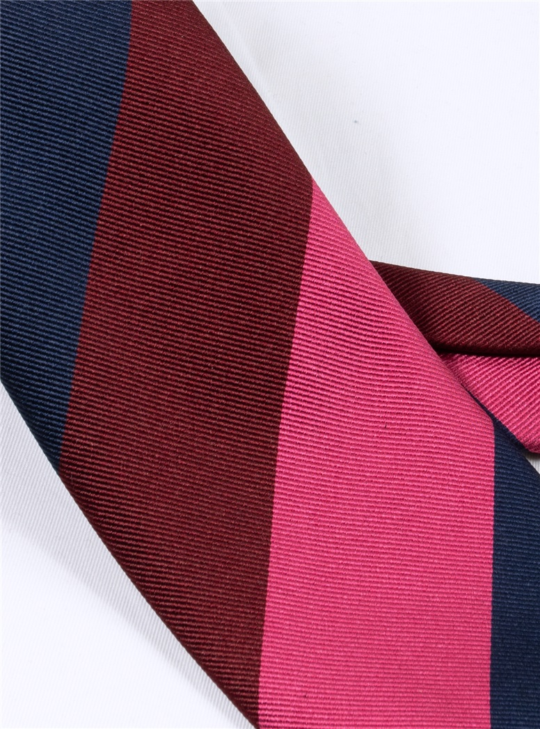 Silk Block Striped Tie in Fuchsia, Navy and Ruby