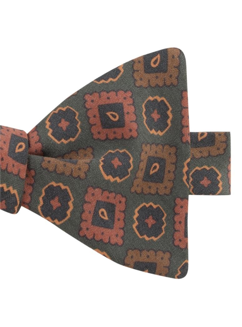 Silk Geometric Motif Bow Tie in Sage