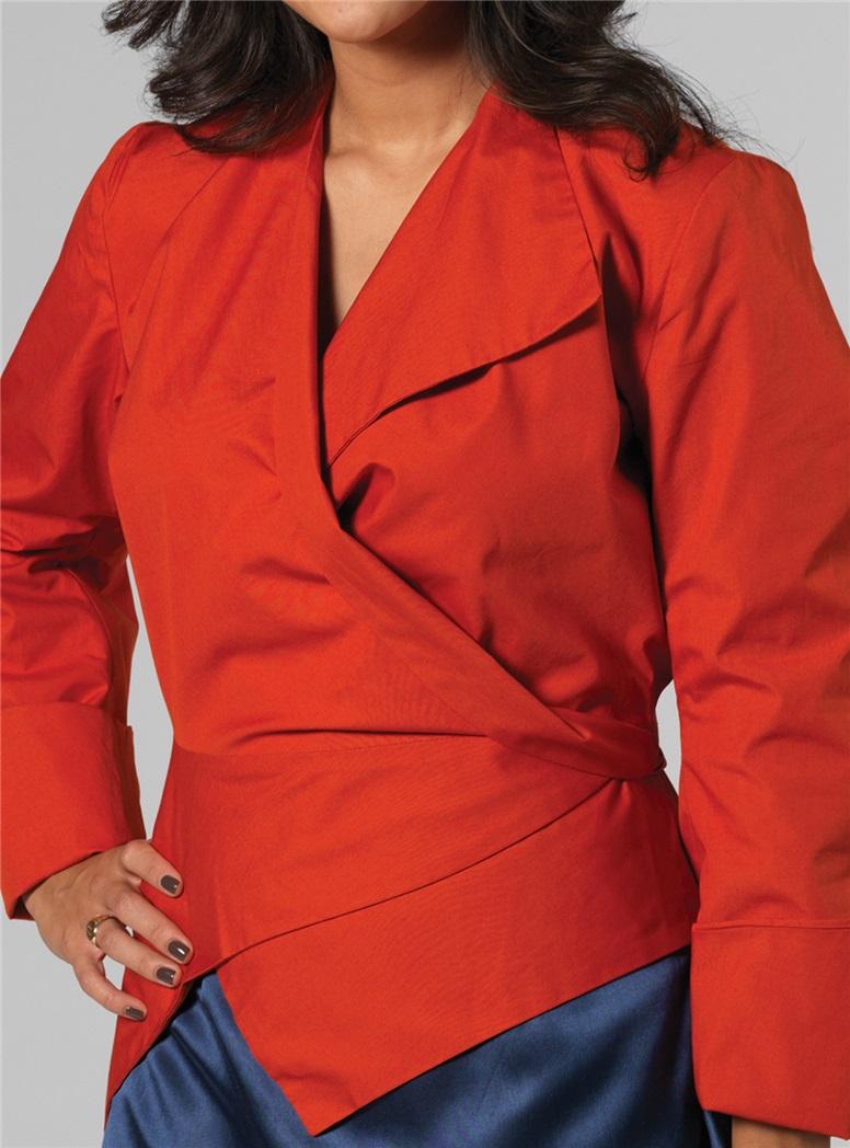 Marie Meunier Flamande Cotton Wrap Top in Orange