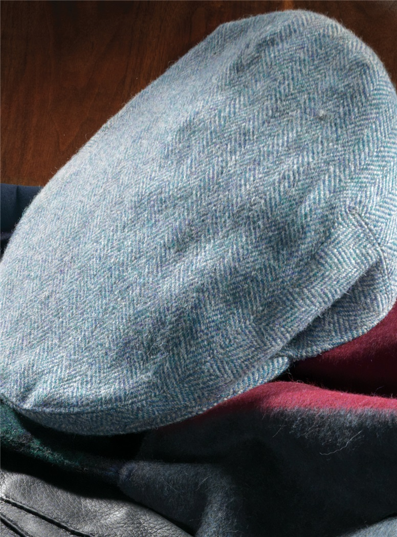 Wool Garforth Cap in Teal Green Herringbone