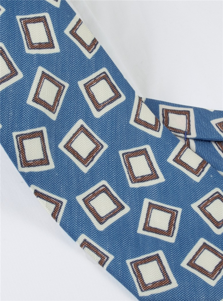 Silk and Linen Square Motif Tie in Aqua