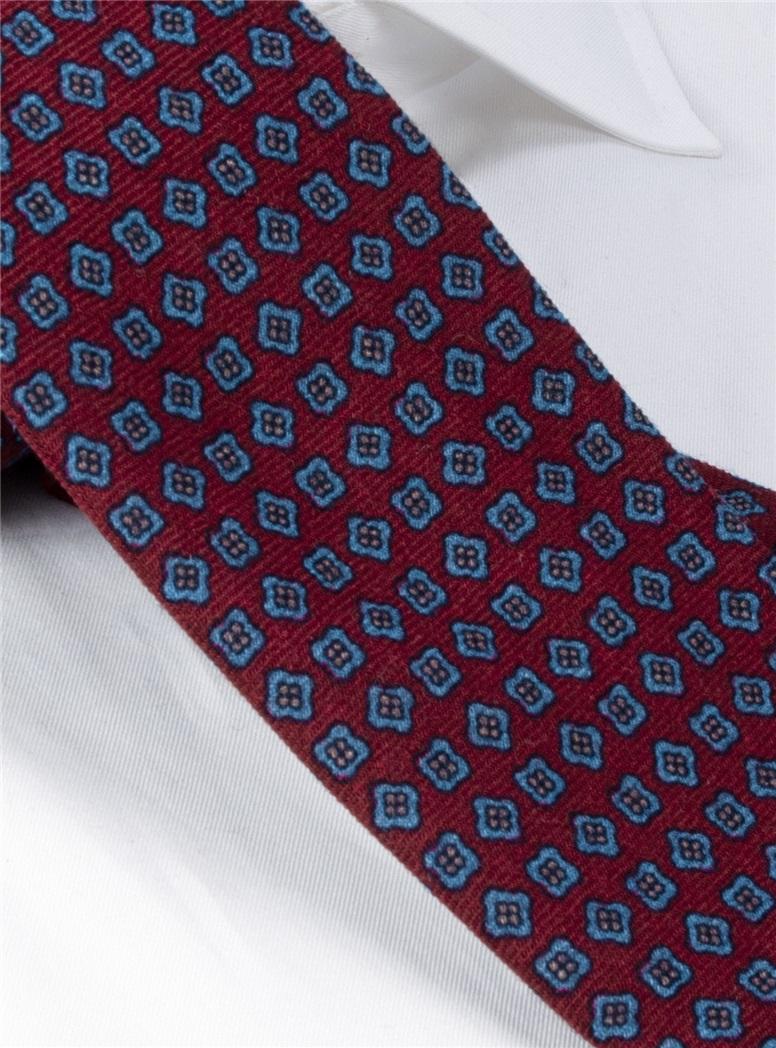 Wool Neat Printed Tie in Purple