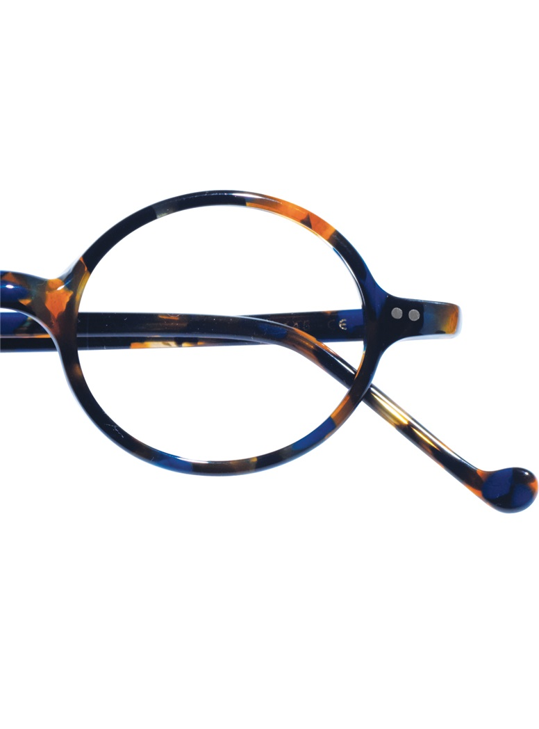 Graceful Round Frame in Blue Tortoise