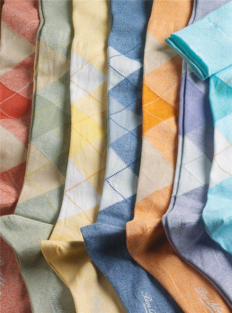 Sea Island Cotton Argyle Socks