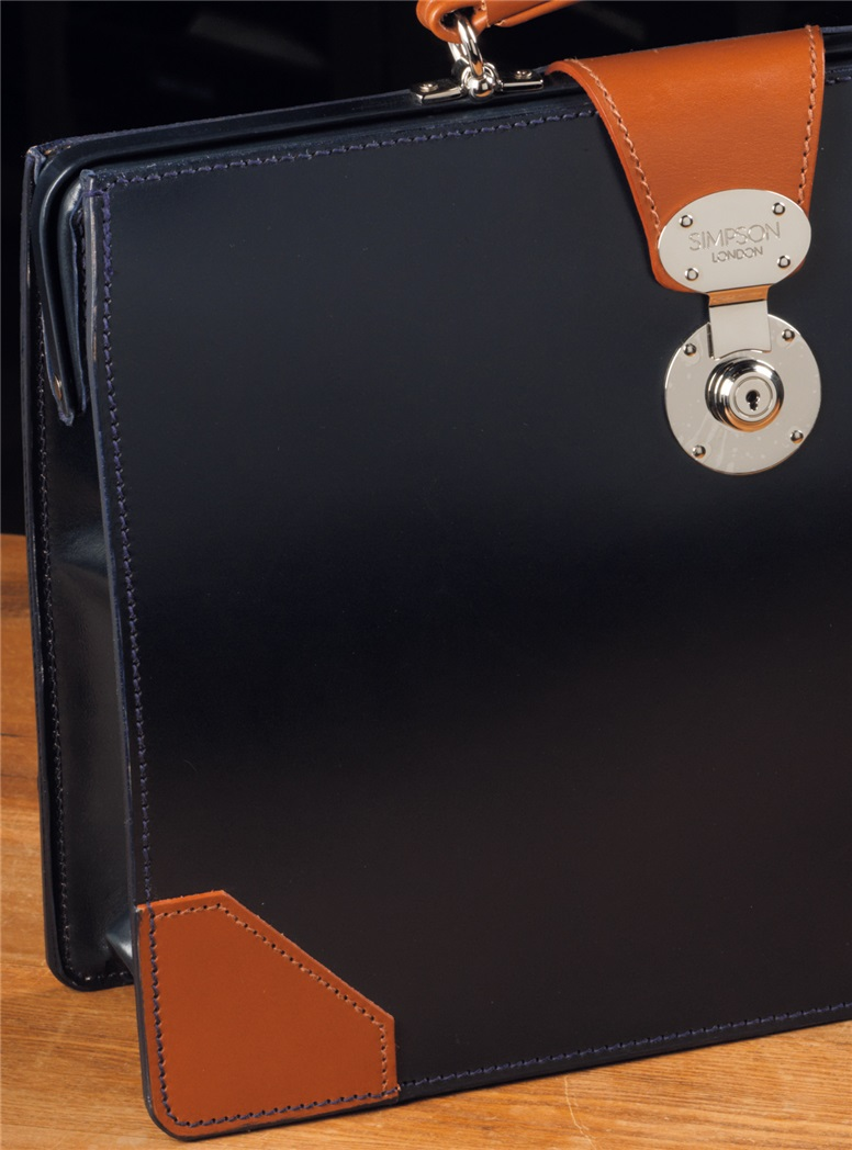 Top Frame Document Case in Navy Bridle Leather with Hazel Trim