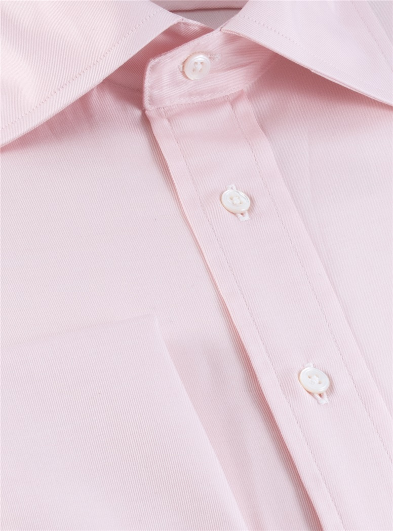 Classic Pink Twill Spread Collar with French Cuffs