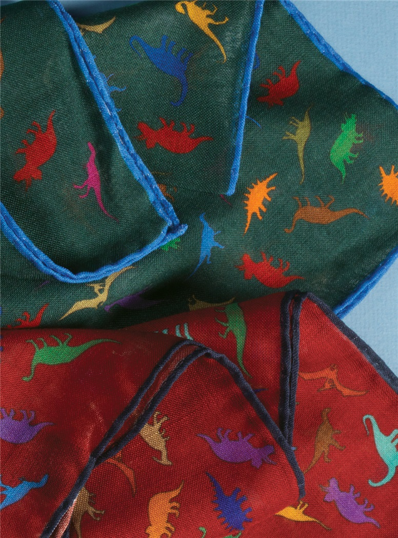 Wool and Silk Dinosaur Print Pocket Squares