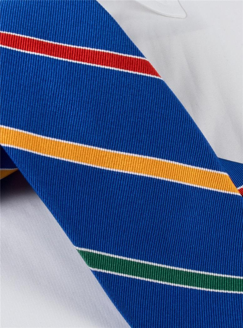 Silk Multi-Stripe Tie in Royal