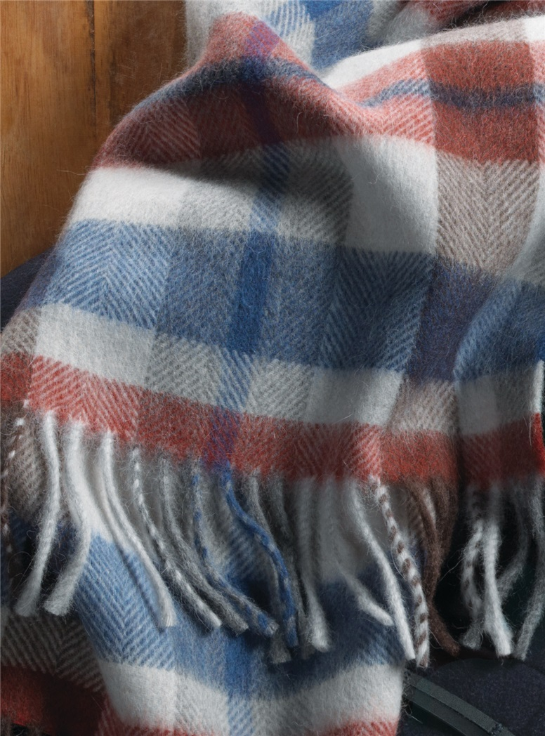 Wool and Alpaca Plaid Scarf in Royal, Red and Brown
