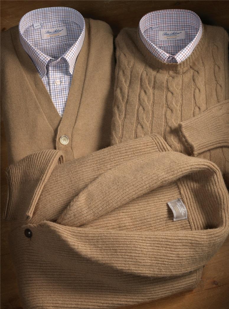 Sleeveless Camelhair V-neck Cardigan