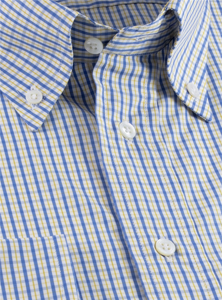 Yellow and Blue Check Button Down