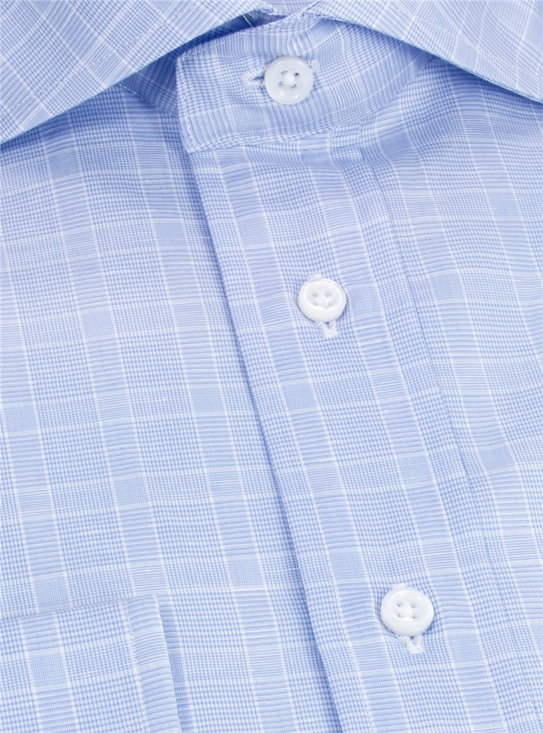 Cotton and Linen Blue and White Glen Plaid Cutaway