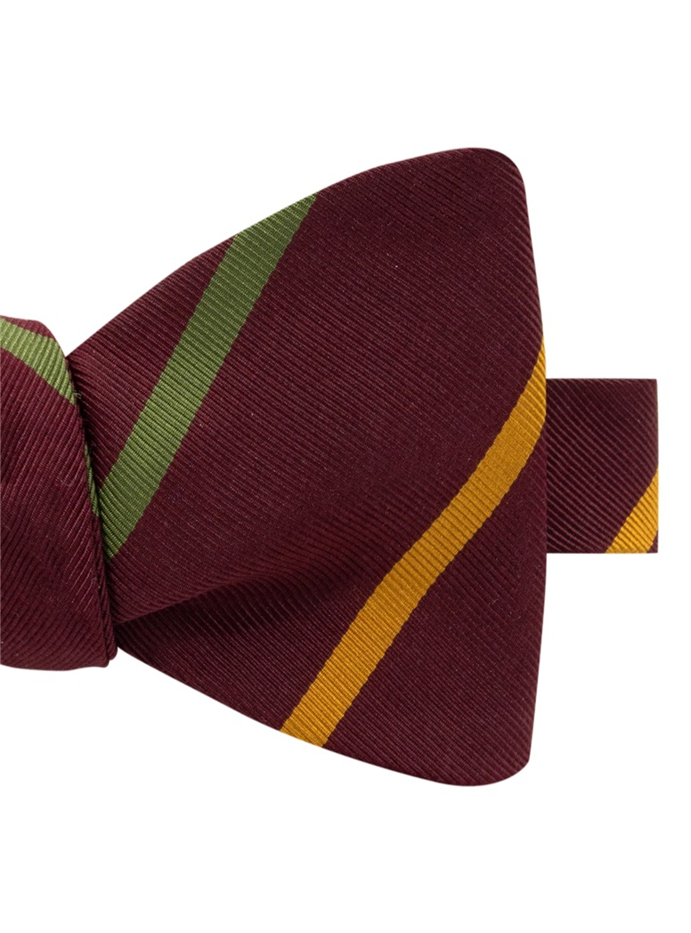 Mogador Double Bar Striped Bow Tie in Wine
