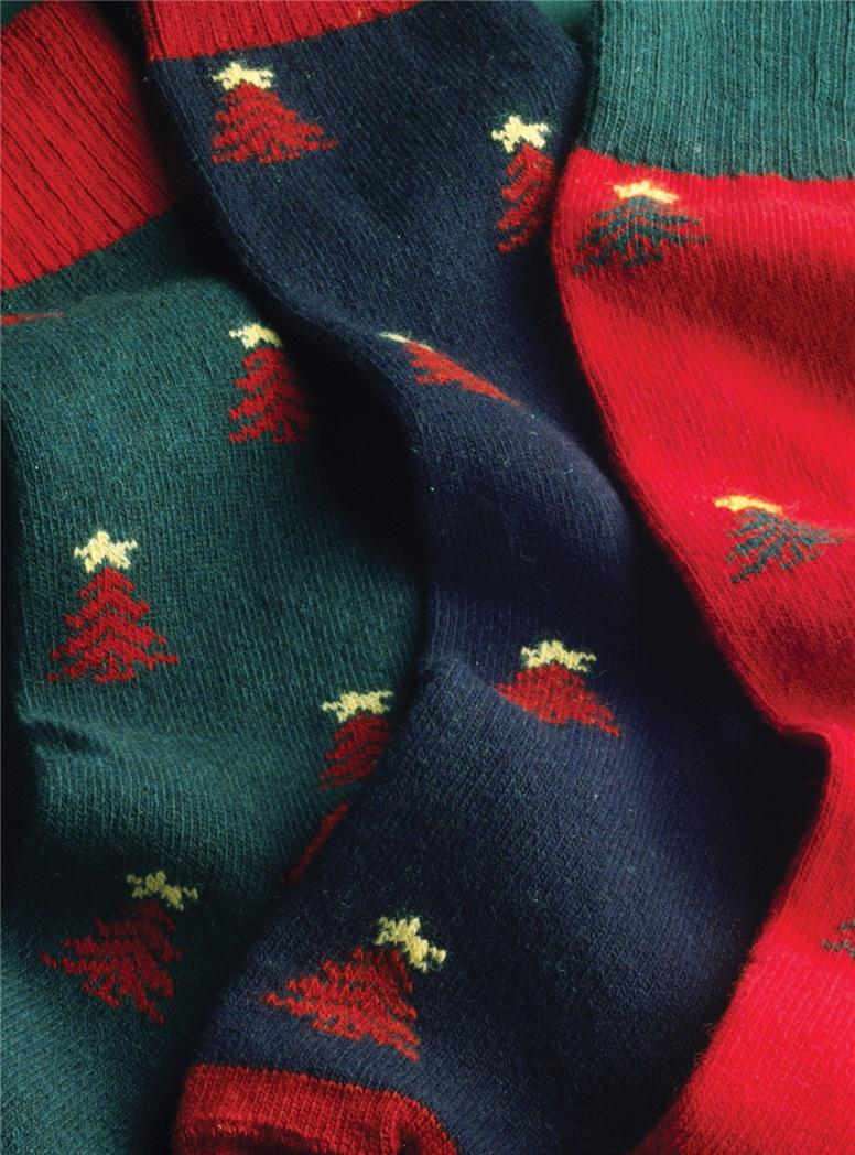 Cashmere Christmas Tree Socks