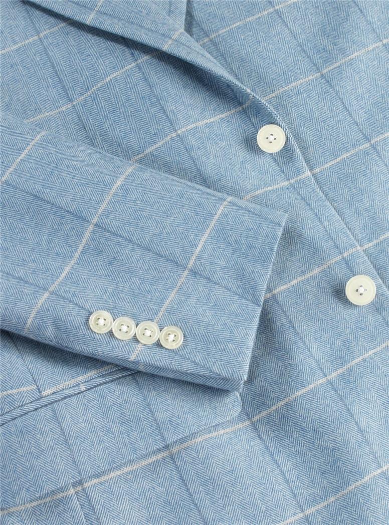 Light Blue Herringbone with Blue and White Windowpane Sport Coat